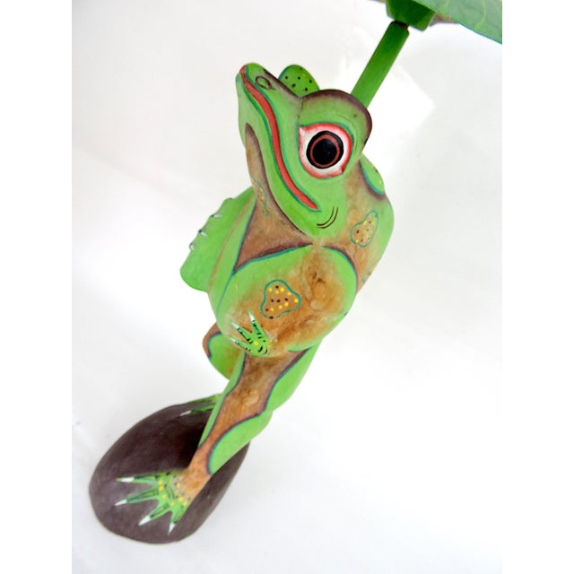 1970s Boho Chic Balinese Frog With Leaf For Sale In Tampa - Image 6 of 7