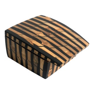 1990s Mid-Century Modern R&y Augosti Bamboo Ebony Trinket Box For Sale