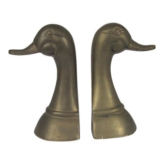 Vintage Brass Duck Head Bookends For Sale