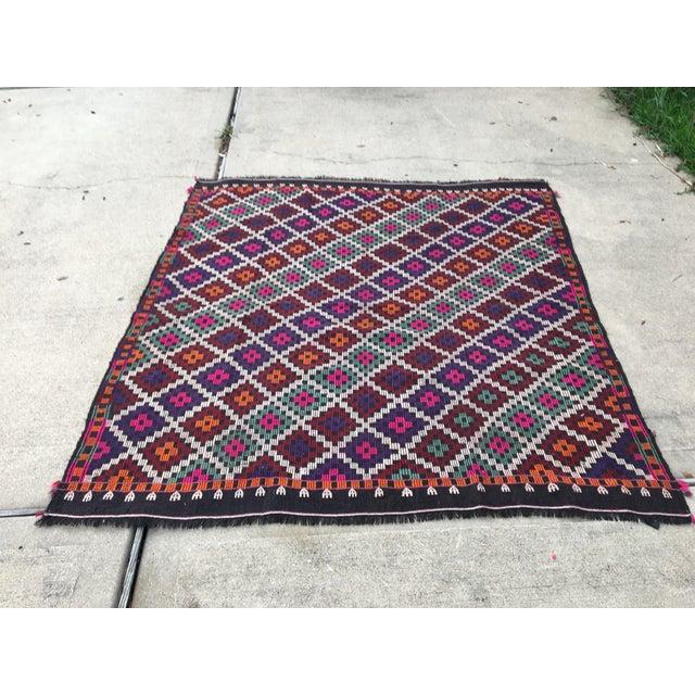 Vintage Anatolian Kilim Tribal Embroidered Cecim Rug - 5′10″ × 6′1″ For Sale - Image 9 of 9