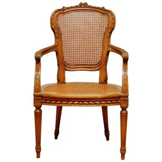 Neoclassical Louis XVI Shield Back Caned Fauteuil Chair