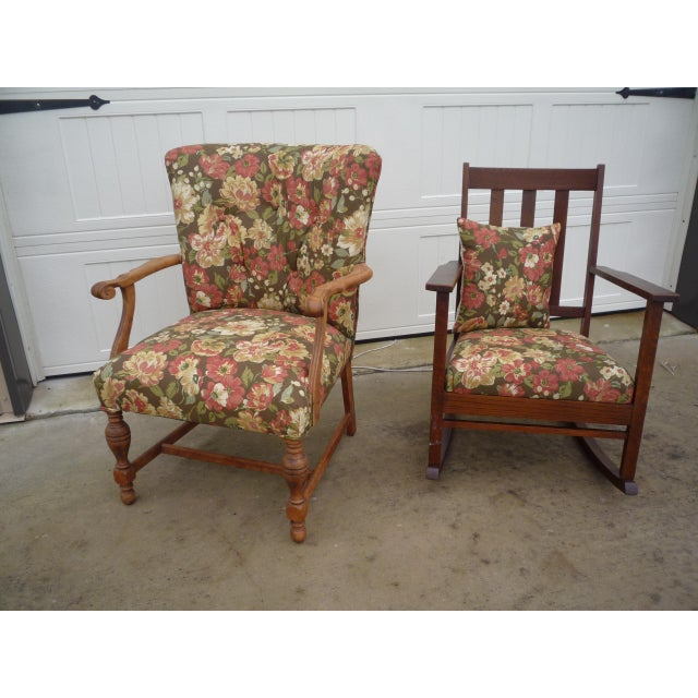 Antique Brown Floral Tufted Armchair & Petite Oak Rocking Chair - A Pair For Sale - Image 9 of 9
