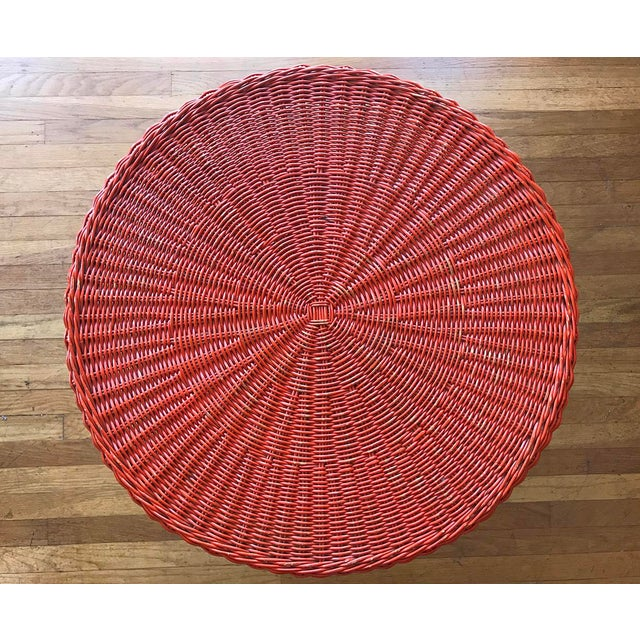 Mid-Century Modern 1950s Mid-Century Modern Carl Aubock Style Red Rattan & Wrought Iron 2-Tier Side Table For Sale - Image 3 of 8