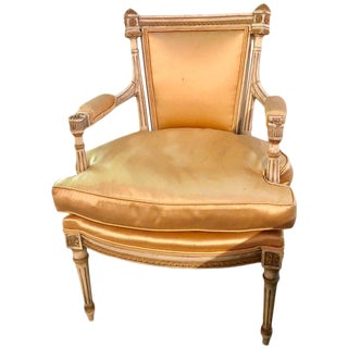 Jansen Parcel Paint and Gilt Decorated Arm or Desk Chair For Sale