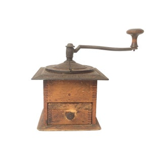 Antique Hand Crank Coffee Grinder With Wood Base and Metal Top For Sale