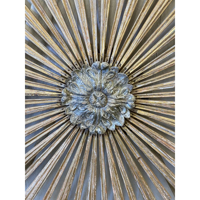 Wood Italian Gilt Wood Sunburst Tuscan Wall Art Hanging For Sale - Image 7 of 10