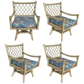 Vintage Bent Rattan Armchairs With Loose Cushions, Two Pair Available For Sale