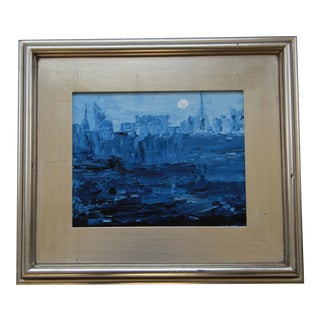 Abstract Cityscape Night Painting by Celeste Plowden For Sale