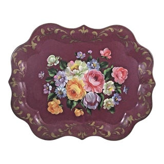 Vintage 1950s Burgundy Painted Floral Tole Tray For Sale