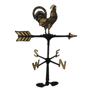 Gold Leaf and Black Rooster Weathervane For Sale