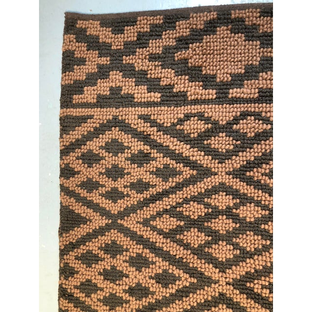 2010s Heavy Knit Brown and Tan Geometric Rug For Sale - Image 5 of 13