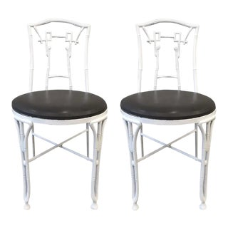 1960s Asian Style Faux Bamboo Side Chairs - a Pair For Sale