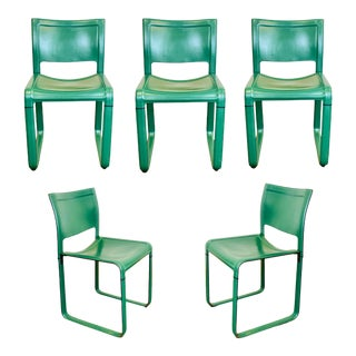 1980s Tito Agnoli for Matteo Grassi Sistena Green Leather Dining Chairs – Set of 5 For Sale