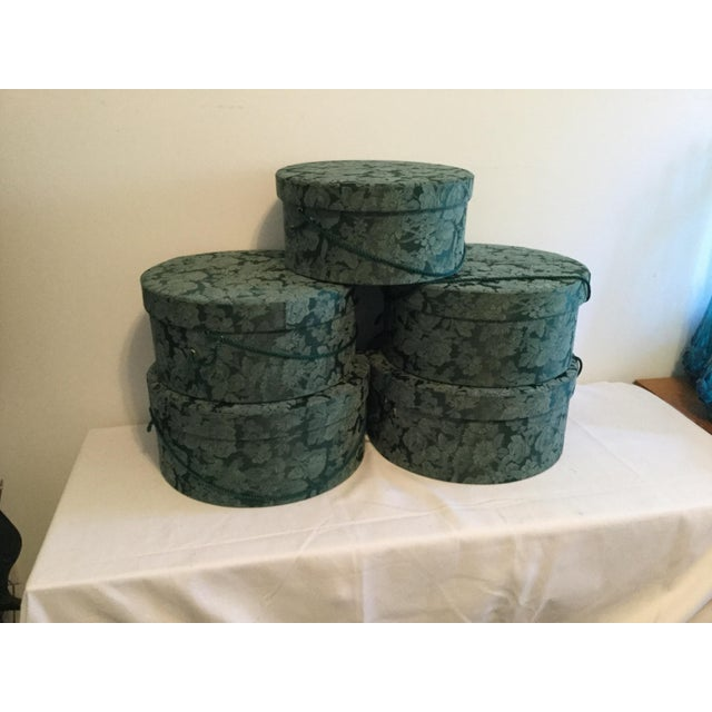 American Vintage Fabric Covered Hat Boxes For Sale - Image 3 of 12