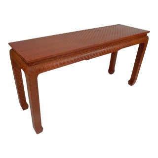 Baker Furniture Asian Grass Cloth Foyer Table