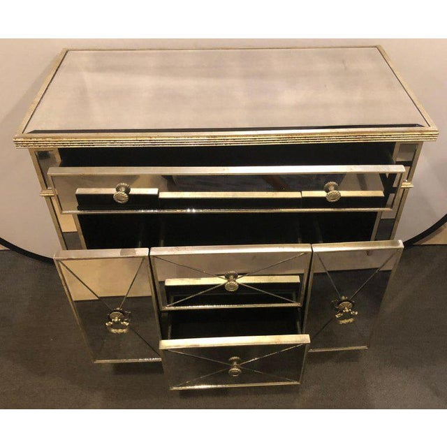 Hollywood Regency Mirrored Hollywood Regency Style Large Nightstand or Commode For Sale - Image 3 of 11