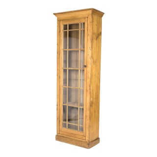 Tall and Narrow Charming Irish Pine Display Cabinet with a Single Mullioned Glass Door For Sale