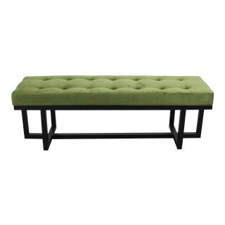 Mid-Century Modern Style Bench With Green Velvet Cushion