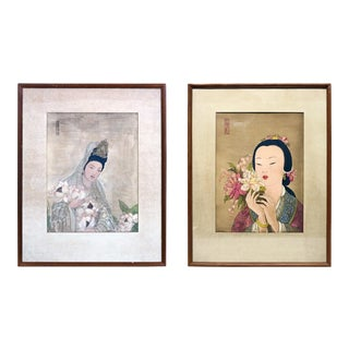 1920s Japanese Woodblock Portrait Prints Geisha Girls, Stamped and Framed - a Pair For Sale