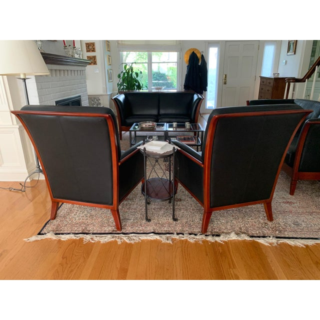 Italian Maurice Villency Italian Leather Living Room Chairs - a Pair For Sale - Image 3 of 4