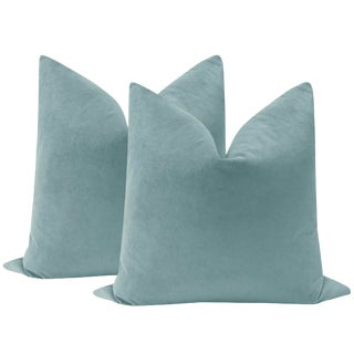 "22"" Cerulean Blue Velvet Pillows - a Pair"
