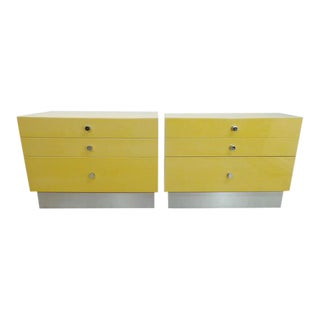 Cy Mann Mid Century Modern Cream Lacquer 2 Drawer End Table Nightstands - a Pair