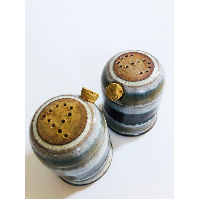 Vintage Mid-Century Stoneware Studio Pottery Salt and Pepper Shakers - a Pair For Sale - Image 4 of 8