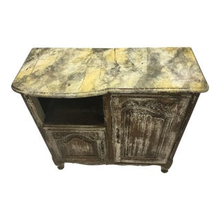 19th Century French Walnut Cupboard With Faux Marble Painted Top For Sale