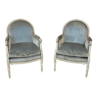Pair 19th Century French Louis XVI Painted Bergeres ~ Armchairs For Sale
