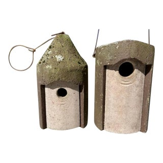 1960s Modernist Cast Concrete Birdhouses - a Pair For Sale