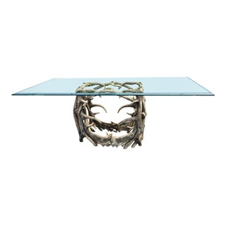 Elegant Designer Dining Table W Thick Glass Top & Faux Antler Base For Sale