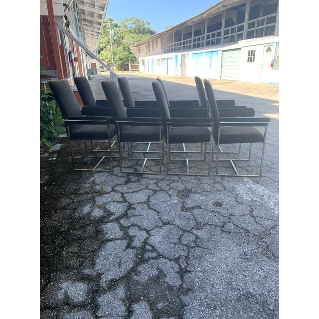 1980s Milo Baughman Style Dining Chairs- Set of 8 For Sale - Image 5 of 10