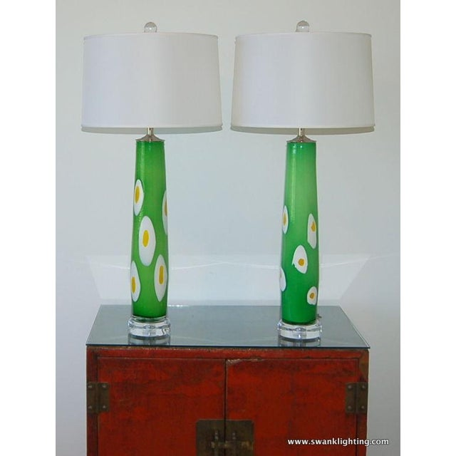 Murano Vintage Murano Glass Table Lamps Green Yellow For Sale - Image 4 of 8