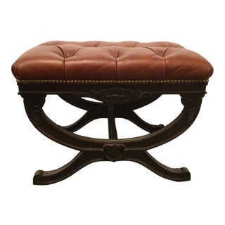 Transitional Drexel Heritage Tufted Sienna Leather Bench For Sale