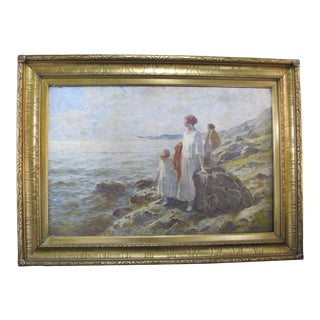 F.C. Lombard Seascape Oil Painting of 2 Women & Child, Framed For Sale