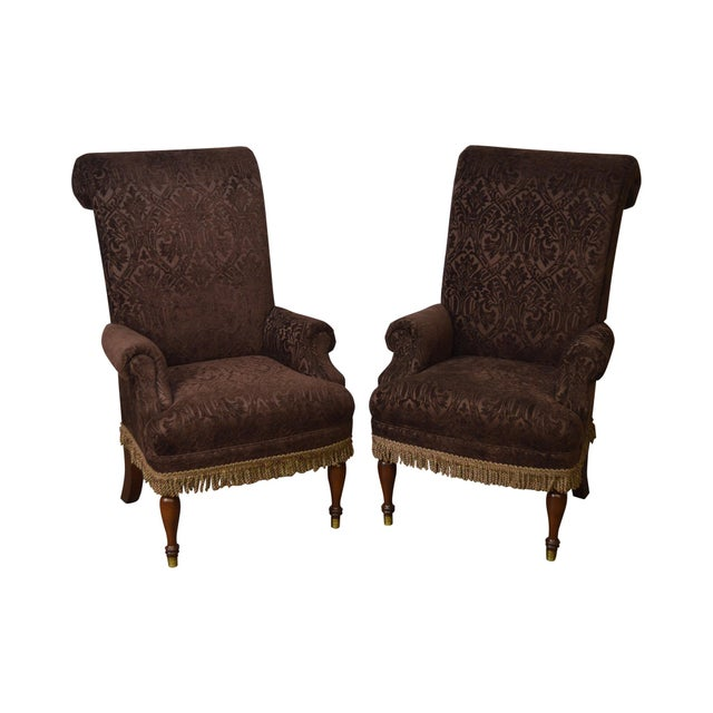 Drexel Pair of High Back Upholstered Host Arm Chairs (B) For Sale - Image 11 of 11