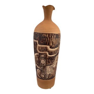Vintage Tall South Western Abstract Pottery Jug Vase For Sale