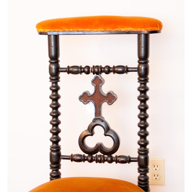 Black 19th Century French Napoleon III Second Empire Prie-Dieu Prayer Chair For Sale - Image 8 of 9