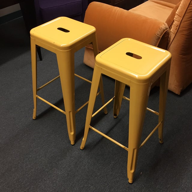 Yellow Painted Metal Bar Stools - A Pair - Image 4 of 7