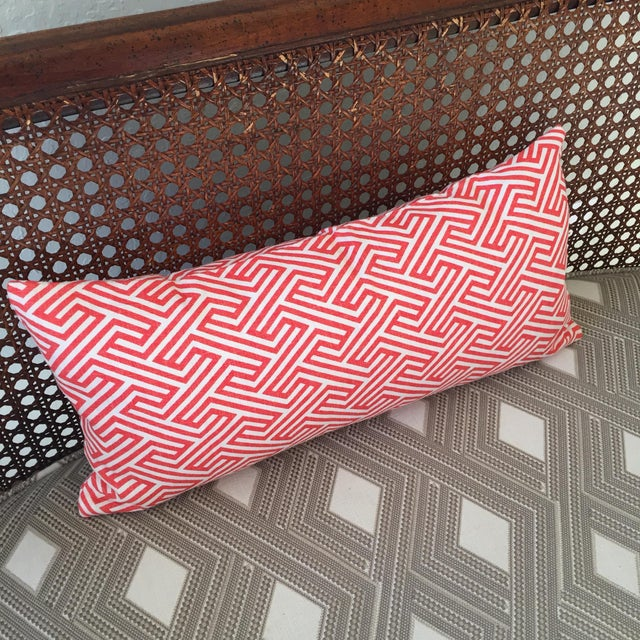 Flamingo Orange Graphic Geometric Kidney Pillow Cover For Sale In San Francisco - Image 6 of 6