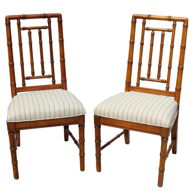 Faux Bamboo Solid Wood Chairs by Dixie Furniture - Pair For Sale In Los Angeles - Image 6 of 6