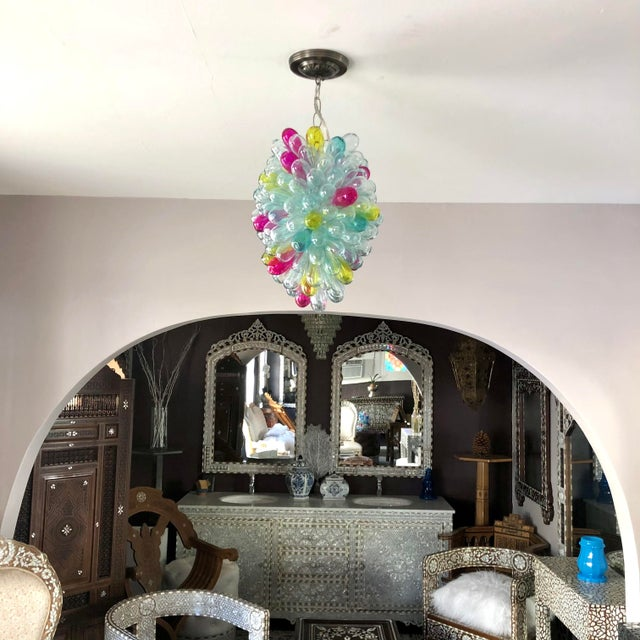 Recycled Handblown Glass Candy Colors Light Fixture For Sale - Image 4 of 12