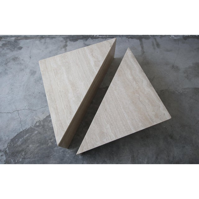 Stone 2-Piece Tiered Post-Modern Italian Travertine Coffee Table For Sale - Image 7 of 10