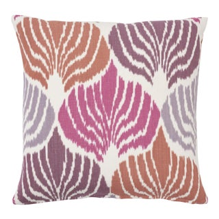 Schumacher Kimono Ikat Pillow in Berry For Sale