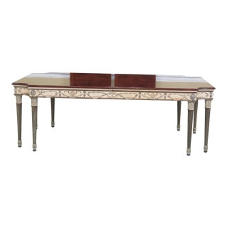 1990s Vintage Ej Victor Newport Mansions Paint Decorated Dining Table For Sale