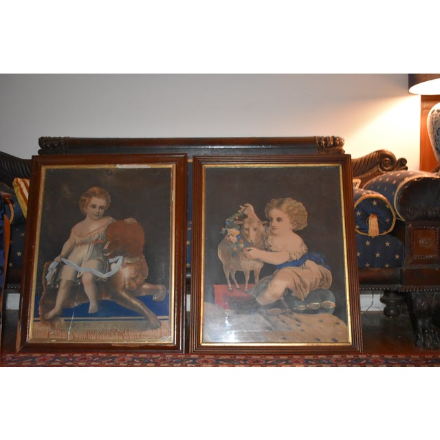 19th Century Antique Henry Schile Hand-Painted Lithographs, Painting Is Watercolor - a Pair For Sale - Image 11 of 11
