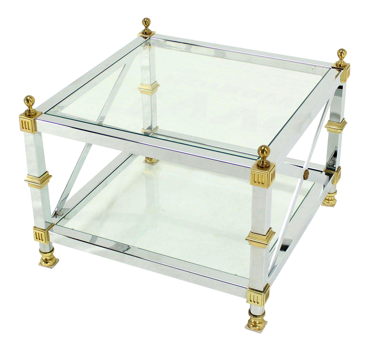 Tow Tier Glass Top Chrome Brass X Base Square Side Or End Table   Image
