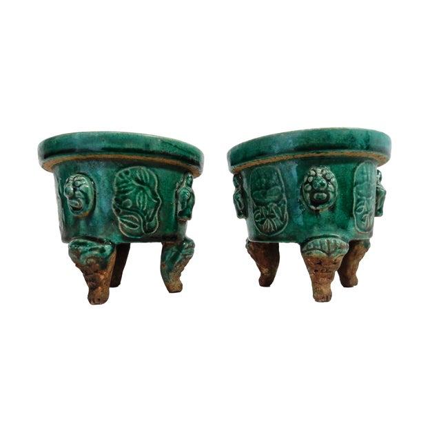 Asian Celadon Ceramic Incense Burners- A Pair - Image 2 of 6