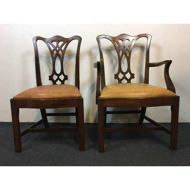 Chippendale Style Carved Mahogany Upholstered Dining Chairs - Set of 8 - Image 4 of 11