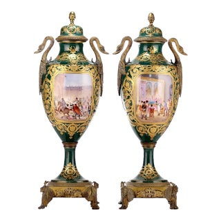 19th Century French Porcelain Lidded Urns - a Pair For Sale